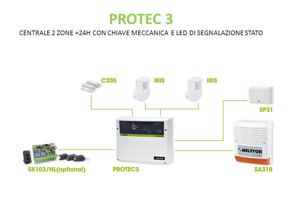 PROTEC 3 CENTRALE 2 ZONE +24H CON CHIAVE MECCANICA E LED DI SEGNALAZIONE STATO