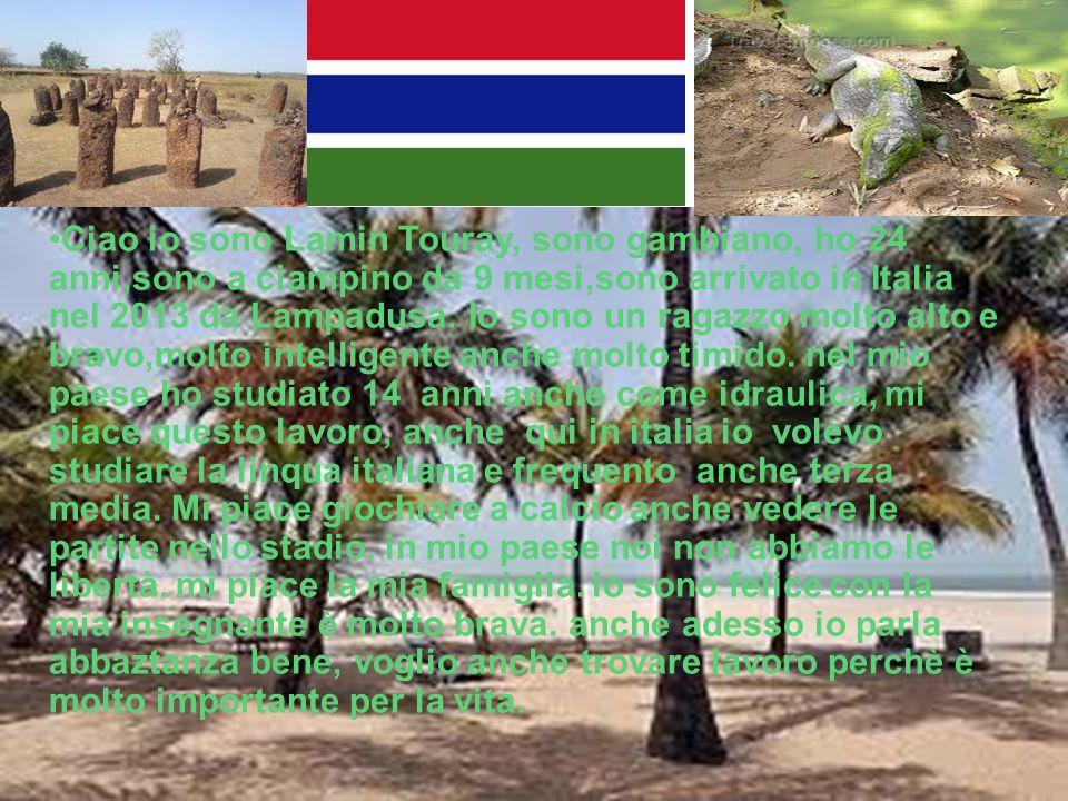 Ciao io sono Lamin Touray, sono gambiano, ho 24 anni,sono a ciampino da 9 mesi,sono arrivato in Italia nel 2013 da Lampadusa.