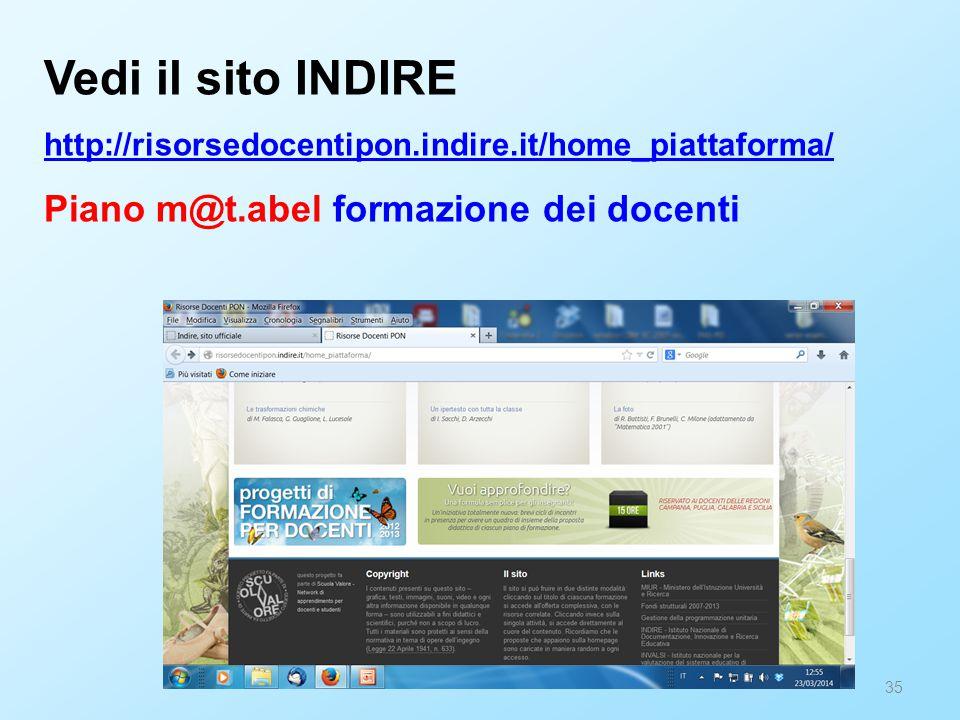Vedi il sito INDIRE Piano m@t.abel formazione dei docenti