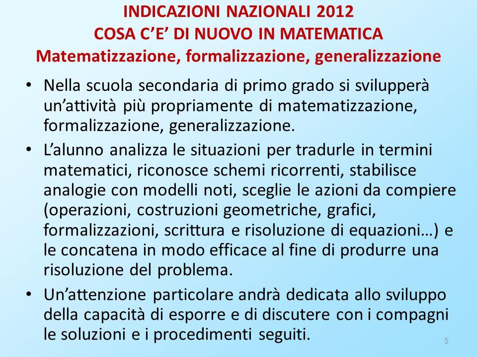 INDICAZIONI NAZIONALI 2012 COSA C'E' DI NUOVO IN MATEMATICA Matematizzazione, formalizzazione, generalizzazione