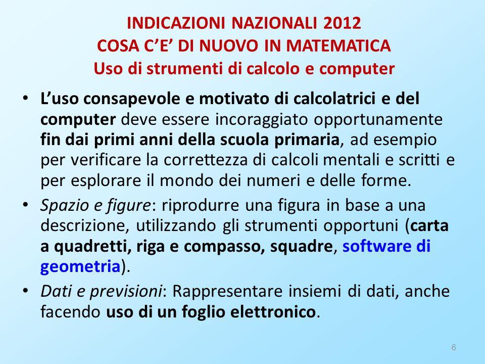 INDICAZIONI NAZIONALI 2012 COSA C'E' DI NUOVO IN MATEMATICA Uso di strumenti di calcolo e computer