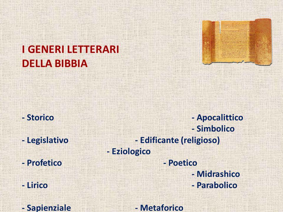 I GENERI LETTERARI DELLA BIBBIA - Storico - Apocalittico - Simbolico
