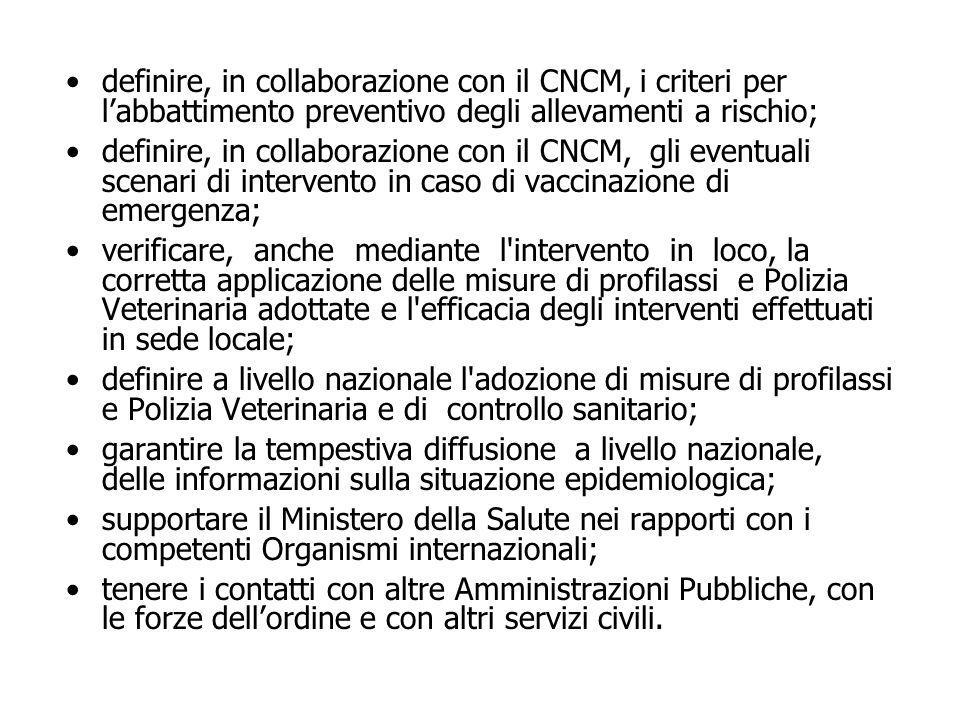 definire, in collaborazione con il CNCM, i criteri per l'abbattimento preventivo degli allevamenti a rischio;