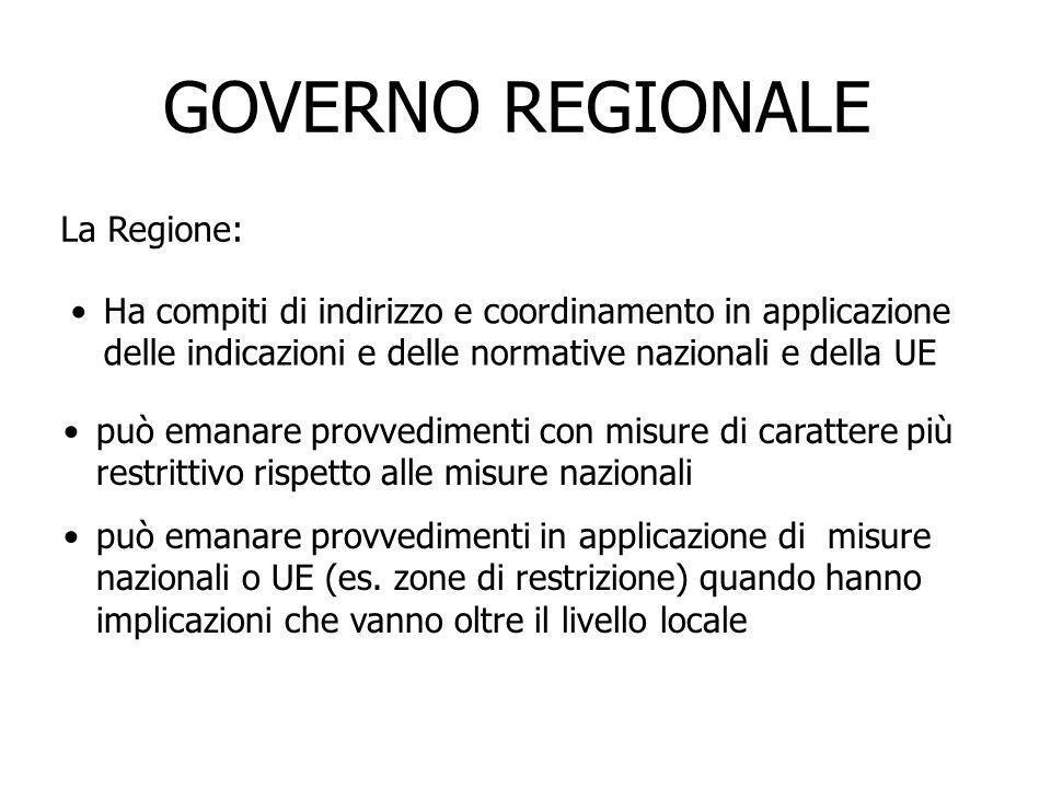 GOVERNO REGIONALE La Regione:
