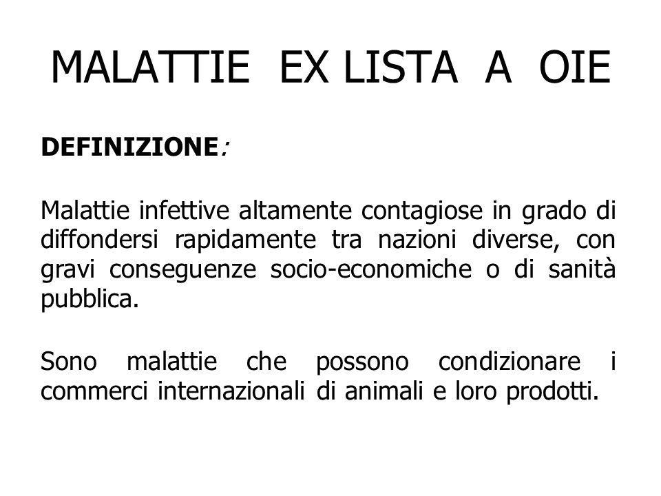 MALATTIE EX LISTA A OIE DEFINIZIONE: