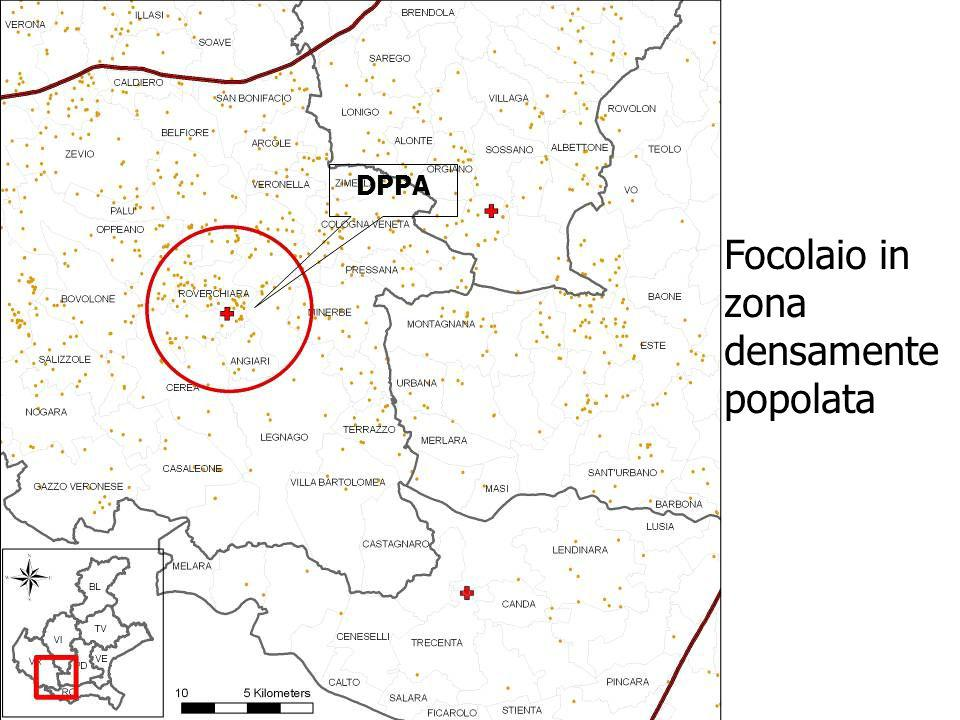 Focolaio in zona densamente popolata