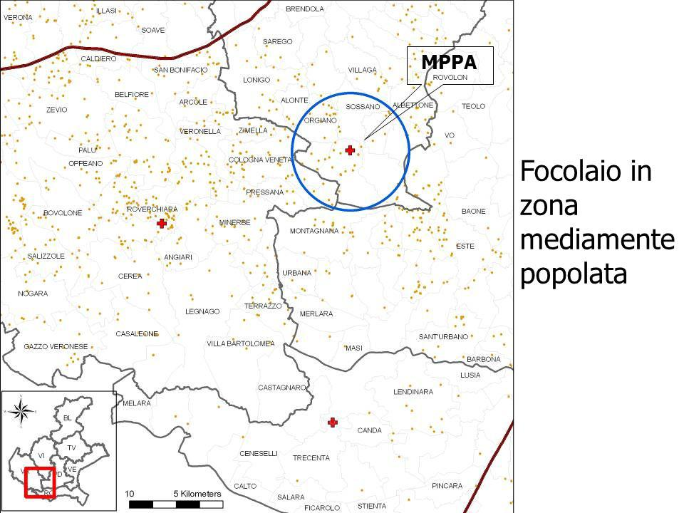 Focolaio in zona mediamente popolata