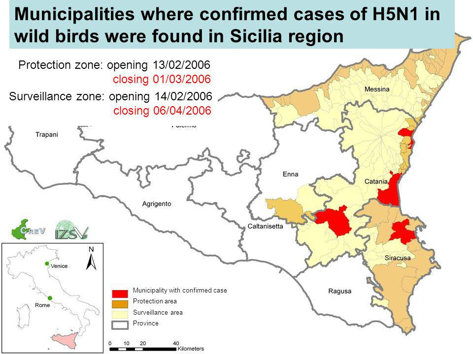 Municipalities where confirmed cases of H5N1 in wild birds were found in Sicilia region