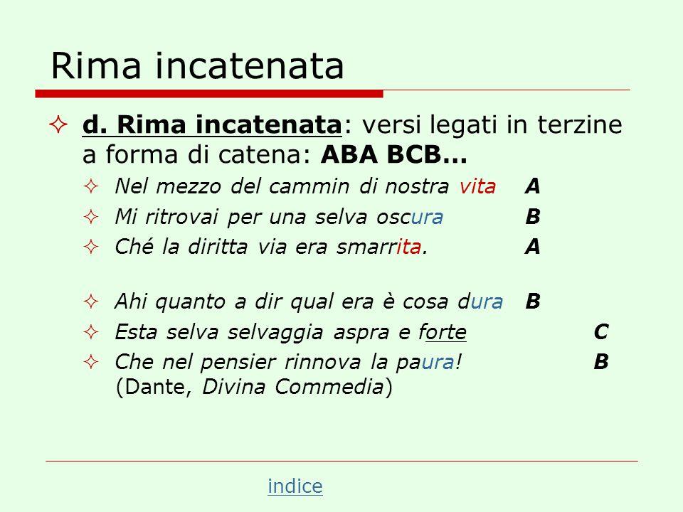 Rima incatenata d. Rima incatenata: versi legati in terzine a forma di catena: ABA BCB… Nel mezzo del cammin di nostra vita A.