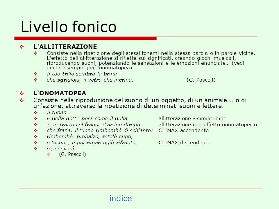 Livello fonico L ALLITTERAZIONE L ONOMATOPEA