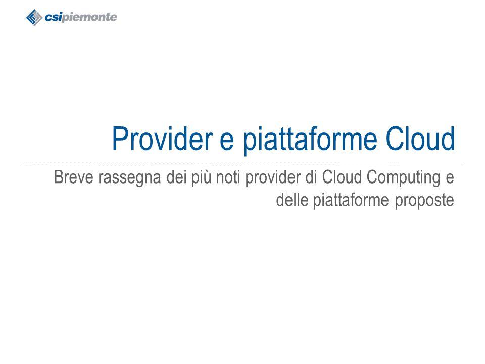 Provider e piattaforme Cloud