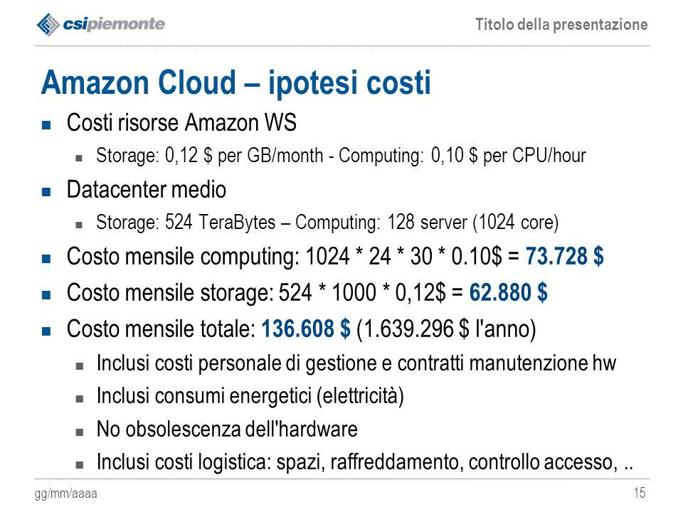 Amazon Cloud – ipotesi costi