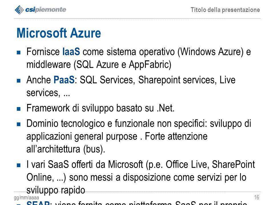 Microsoft Azure Fornisce IaaS come sistema operativo (Windows Azure) e middleware (SQL Azure e AppFabric)