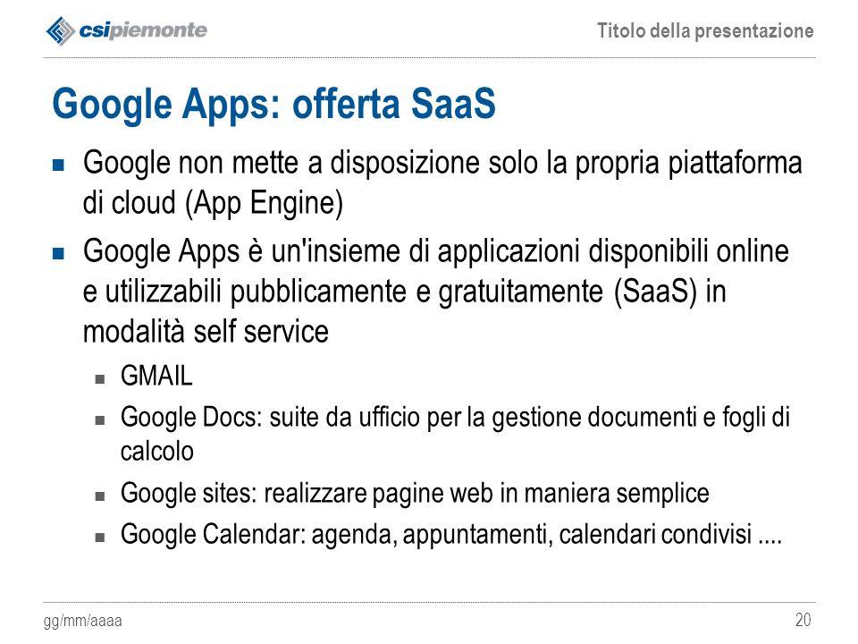 Google Apps: offerta SaaS