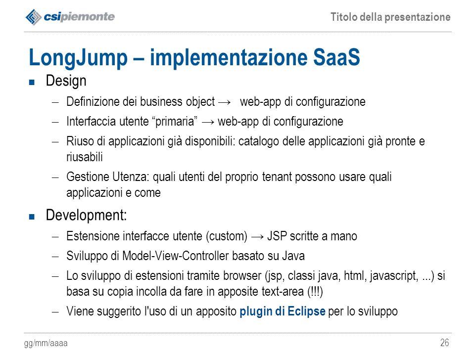 LongJump – implementazione SaaS