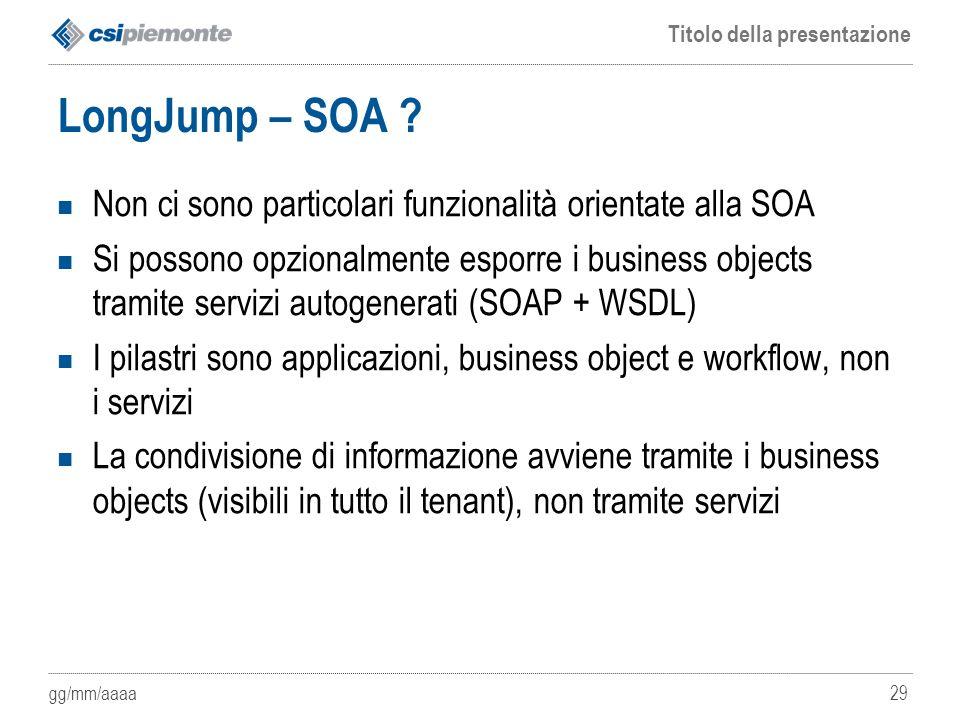 LongJump – SOA Non ci sono particolari funzionalità orientate alla SOA.