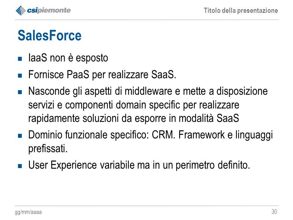 SalesForce IaaS non è esposto Fornisce PaaS per realizzare SaaS.