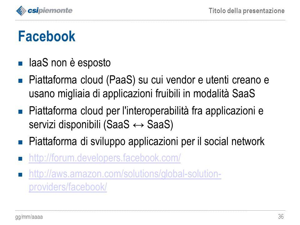 Facebook IaaS non è esposto