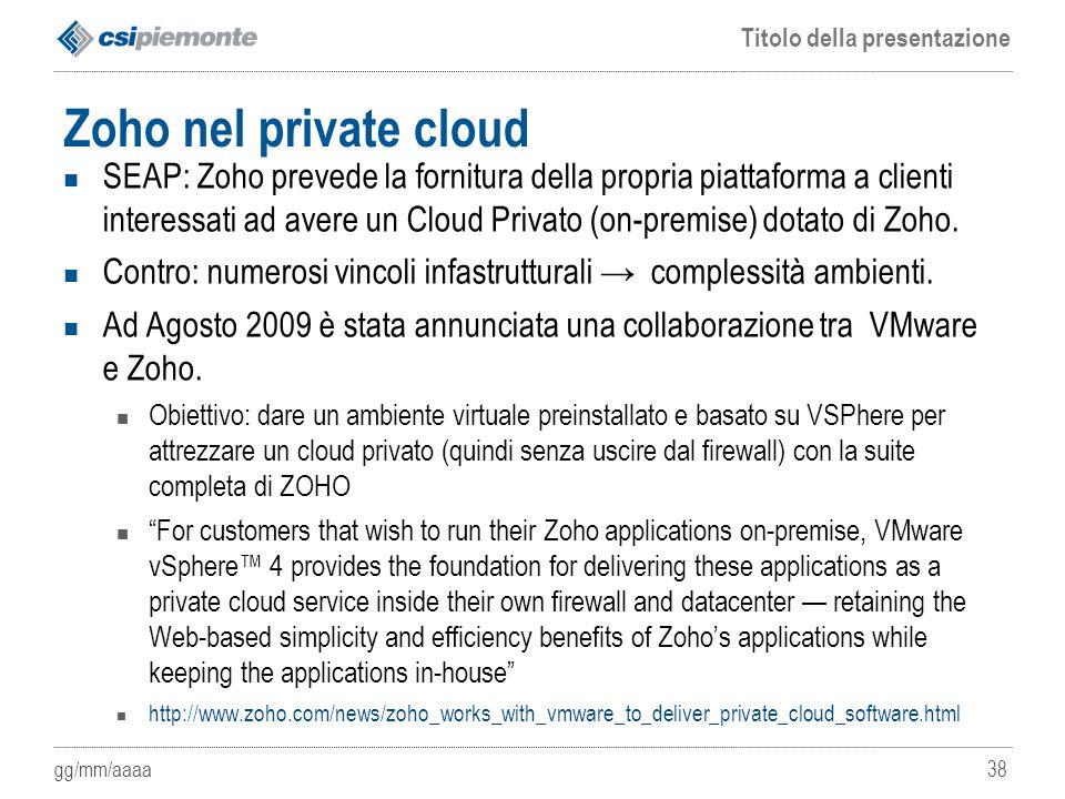 Zoho nel private cloud