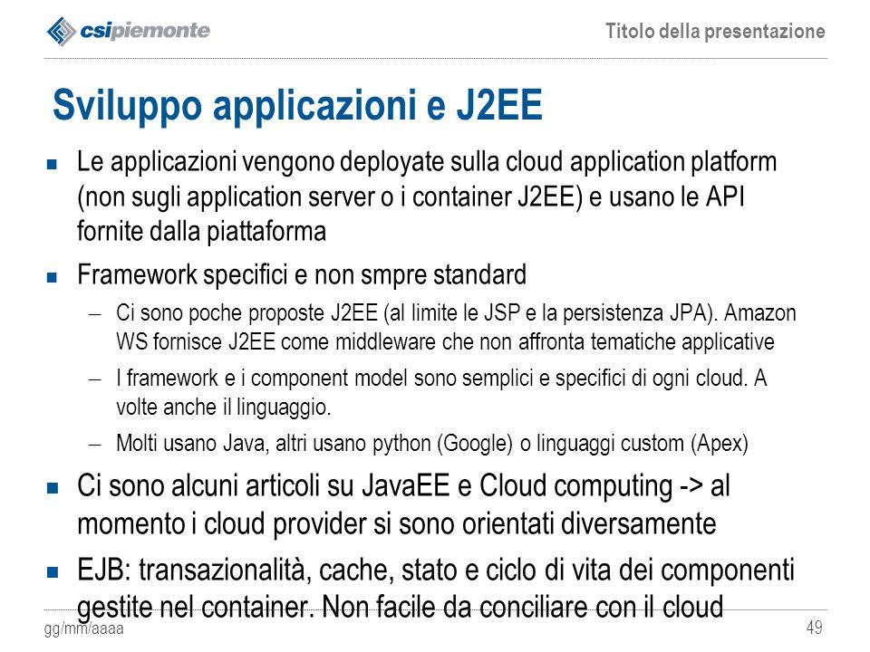 Sviluppo applicazioni e J2EE
