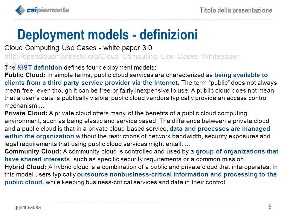 Deployment models - definizioni