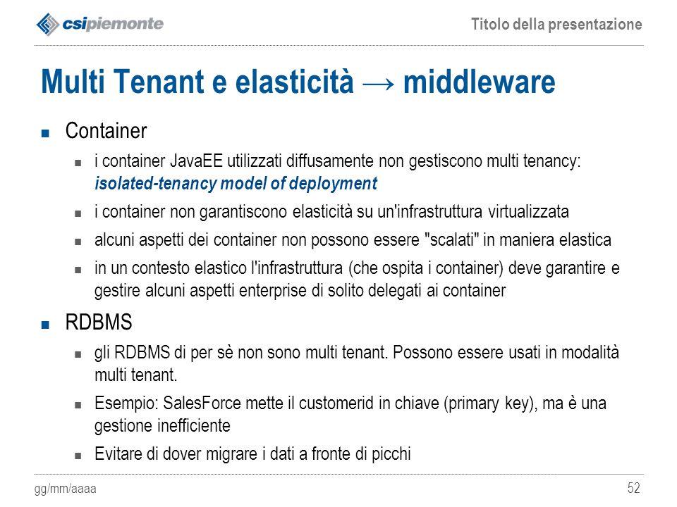Multi Tenant e elasticità → middleware