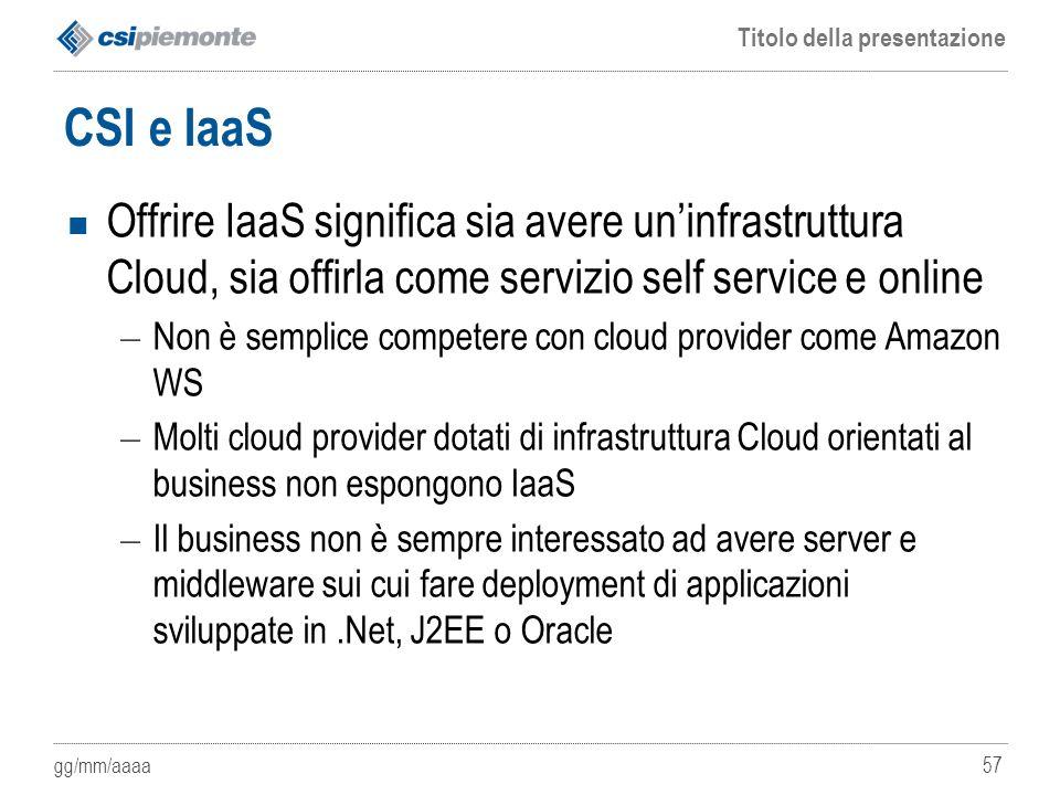 CSI e IaaS Offrire IaaS significa sia avere un'infrastruttura Cloud, sia offirla come servizio self service e online.