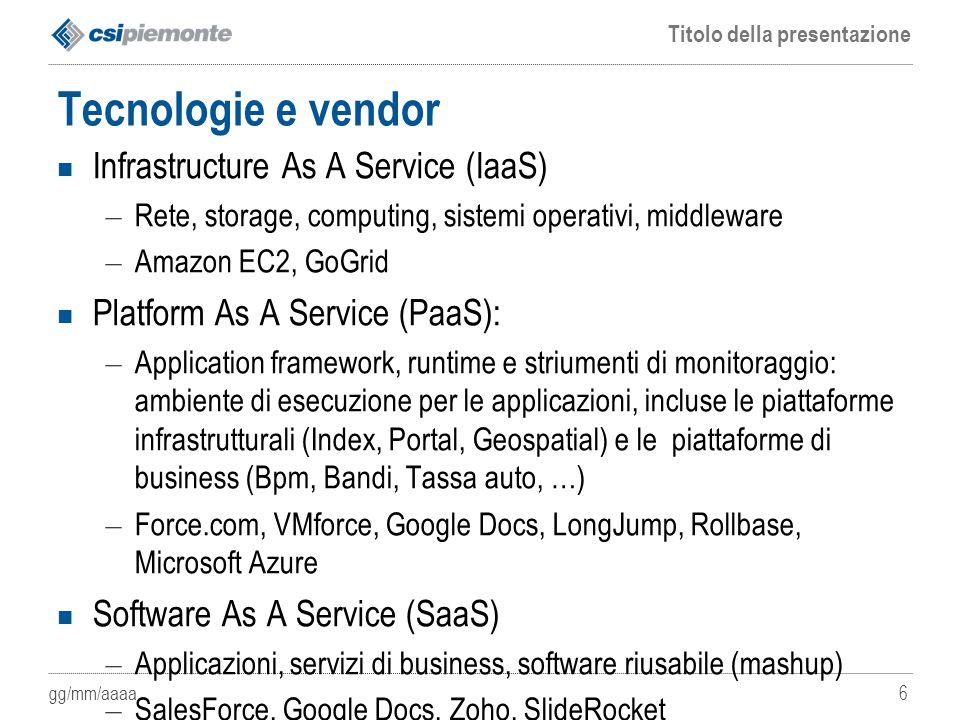 Tecnologie e vendor Infrastructure As A Service (IaaS)