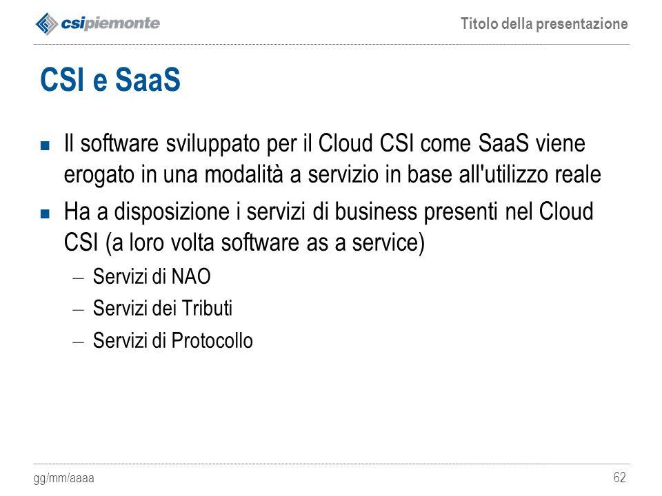 CSI e SaaS Il software sviluppato per il Cloud CSI come SaaS viene erogato in una modalità a servizio in base all utilizzo reale.