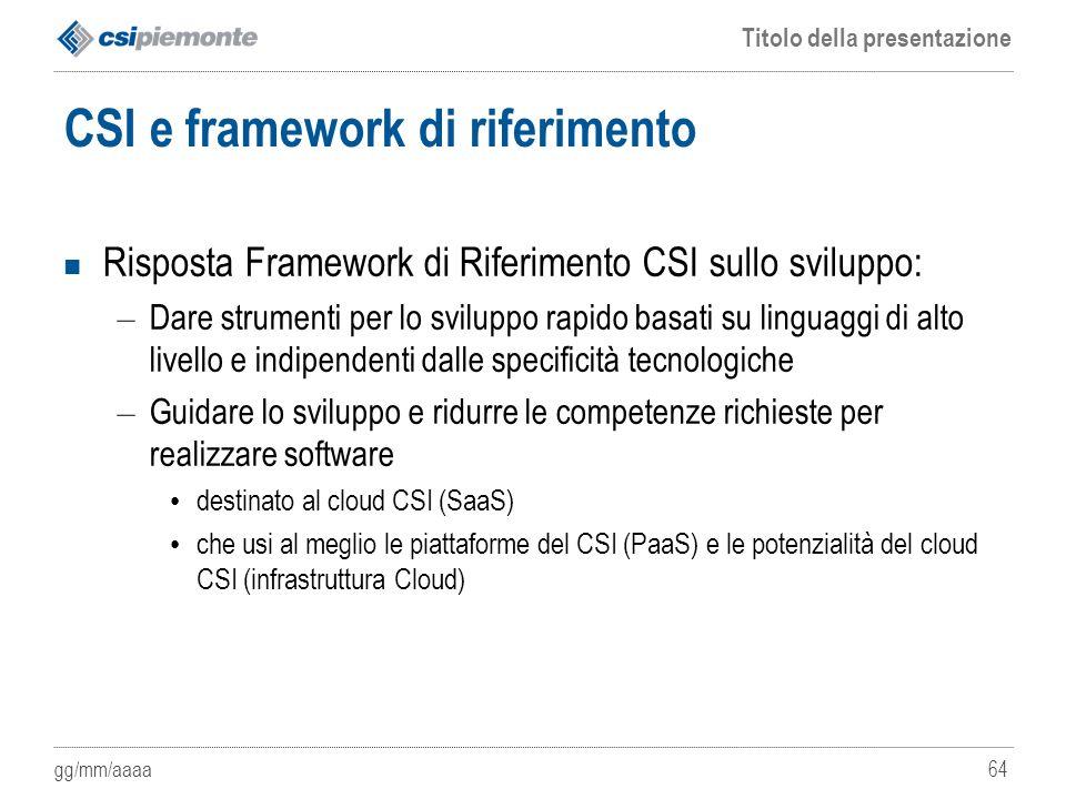 CSI e framework di riferimento