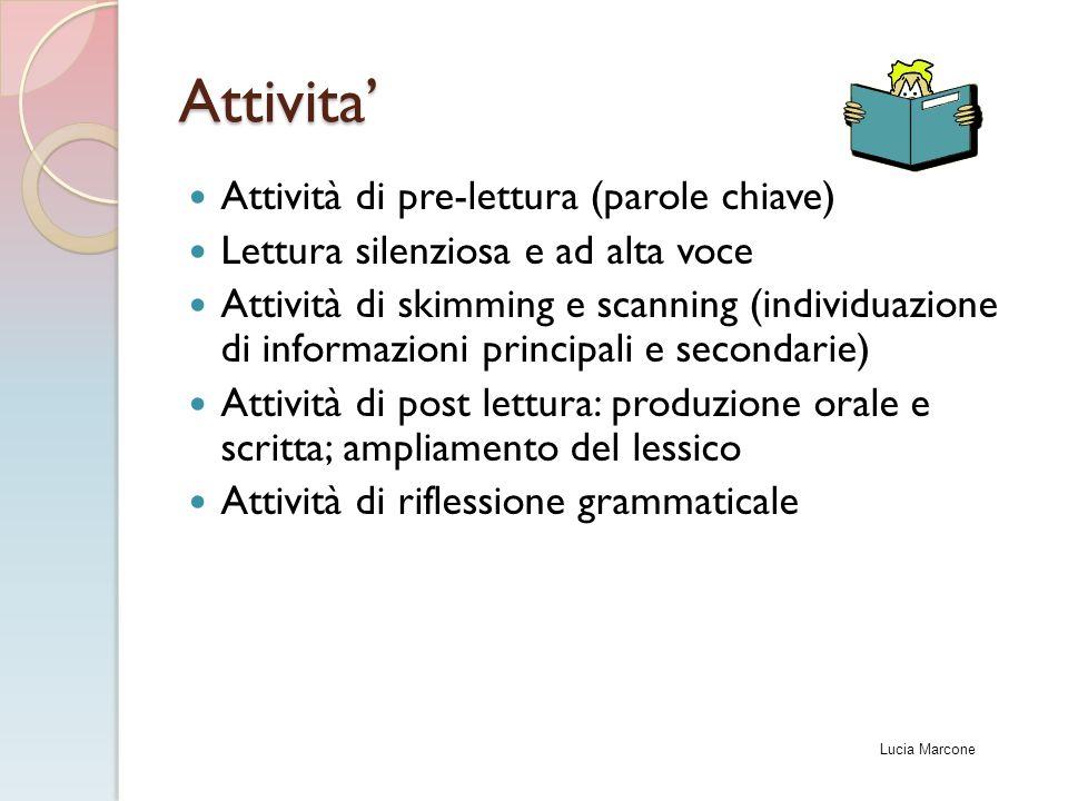 Attivita' Attività di pre-lettura (parole chiave)
