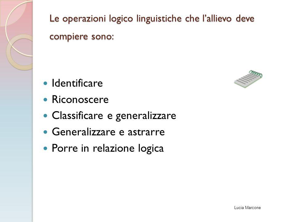 Le operazioni logico linguistiche che l'allievo deve compiere sono: