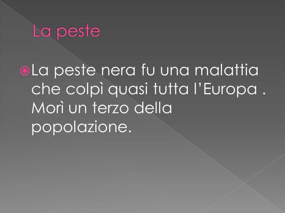 La peste La peste nera fu una malattia che colpì quasi tutta l'Europa .