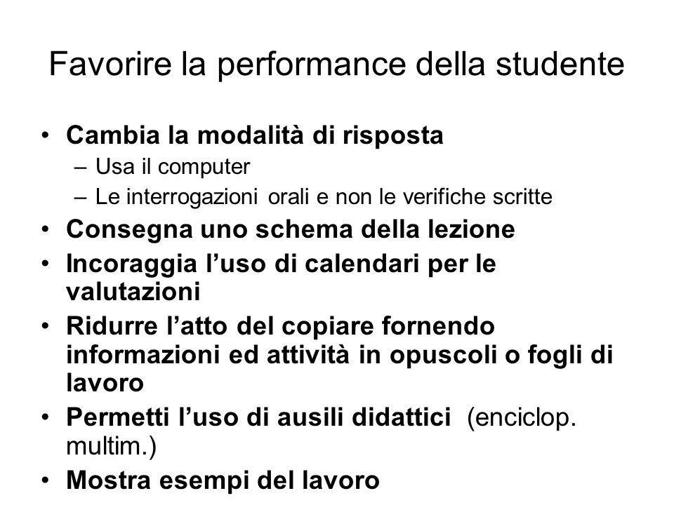 Favorire la performance della studente