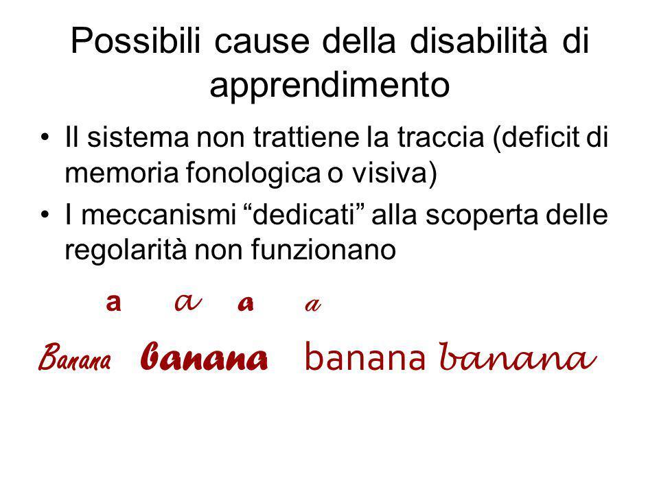 Possibili cause della disabilità di apprendimento