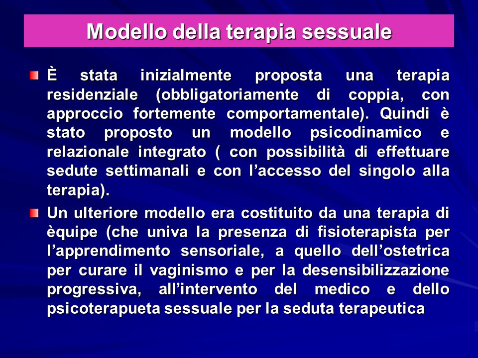 Modello della terapia sessuale
