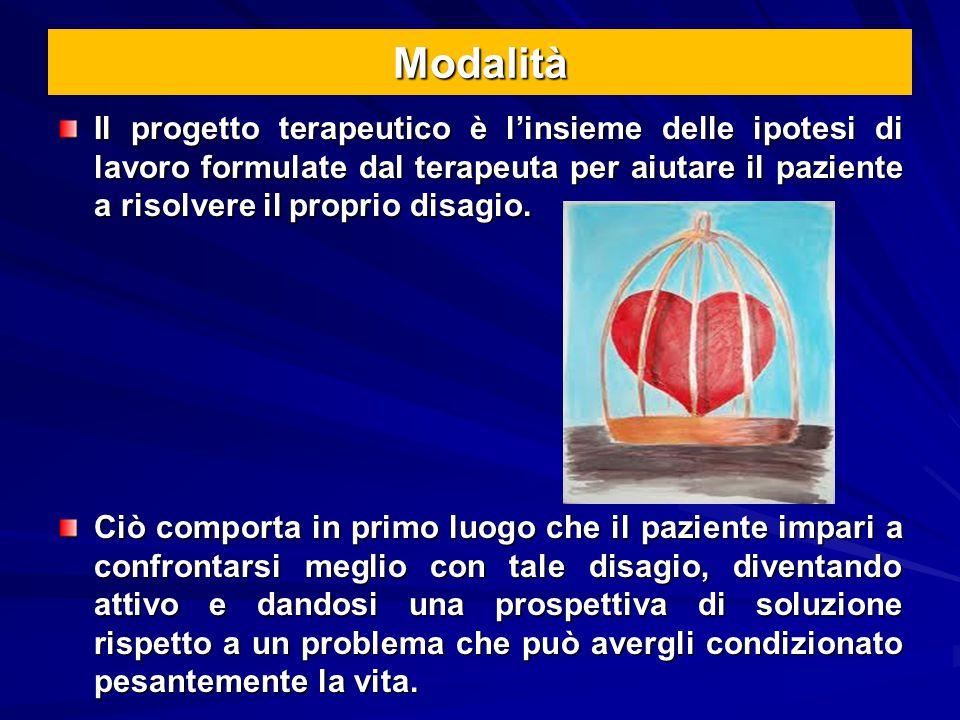 Modalità Il progetto terapeutico è l'insieme delle ipotesi di lavoro formulate dal terapeuta per aiutare il paziente a risolvere il proprio disagio.