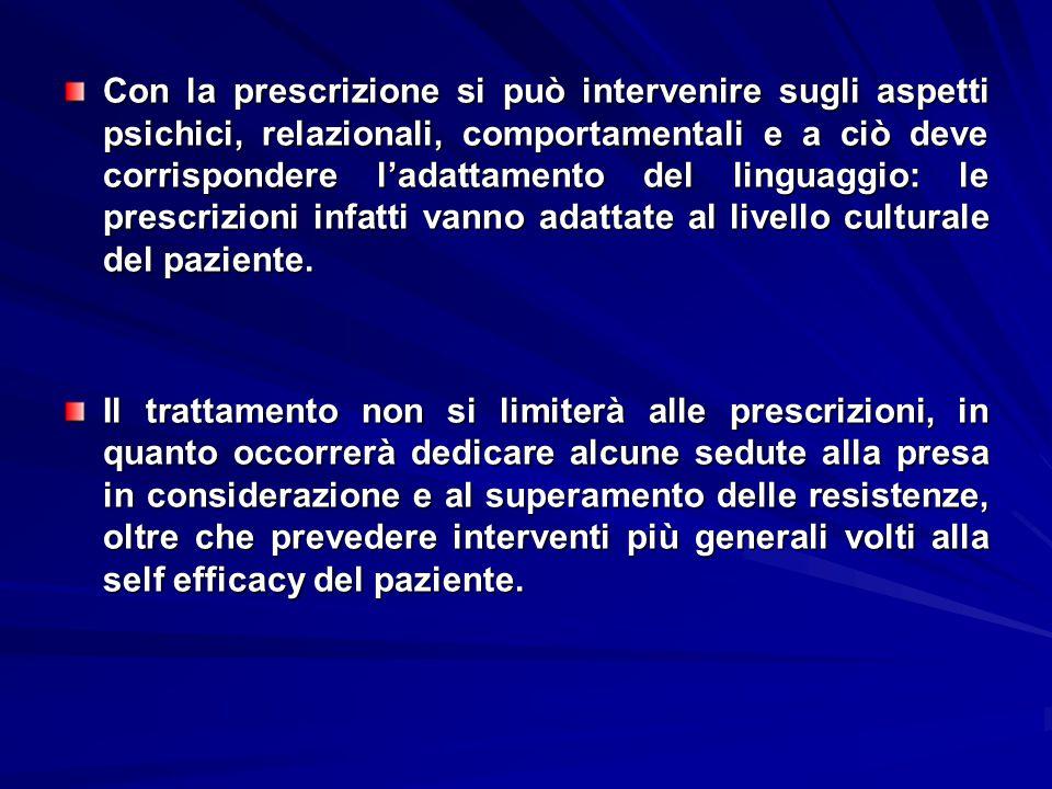 Con la prescrizione si può intervenire sugli aspetti psichici, relazionali, comportamentali e a ciò deve corrispondere l'adattamento del linguaggio: le prescrizioni infatti vanno adattate al livello culturale del paziente.