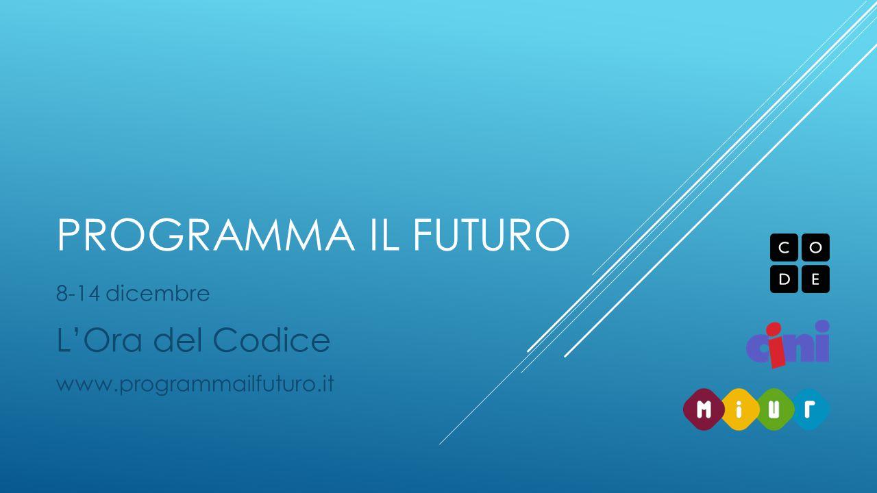 8-14 dicembre L'Ora del Codice www.programmailfuturo.it