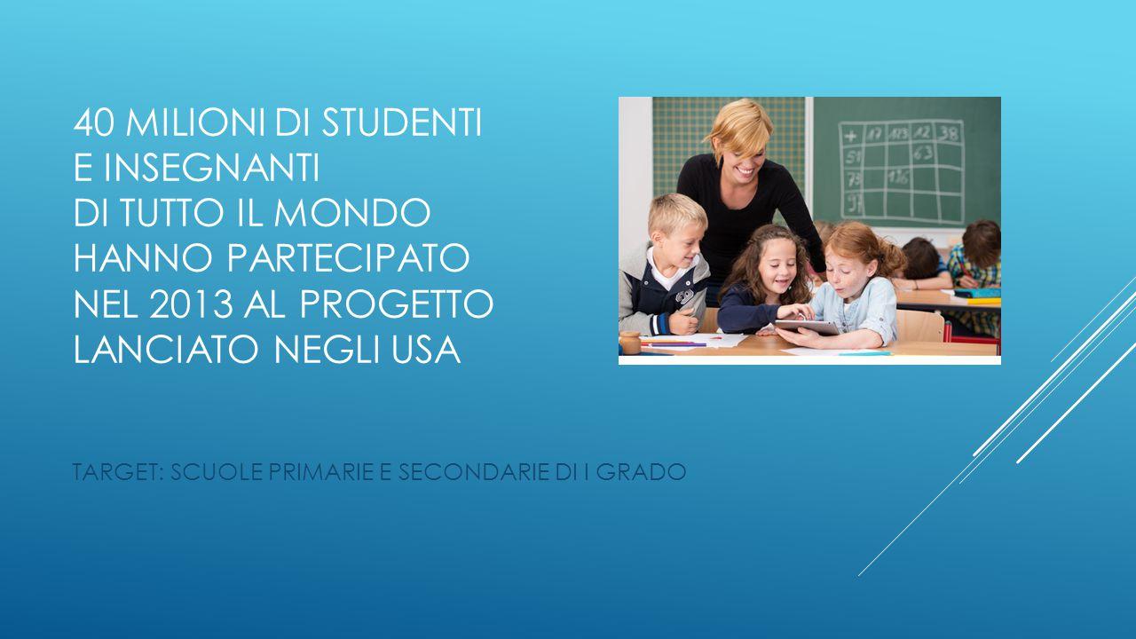 40 MILIONI DI STUDENTI E INSEGNANTI DI TUTTO IL MONDO hanno partecipato NEL 2013 AL PROGETTO LANCIATO NEGLI USA