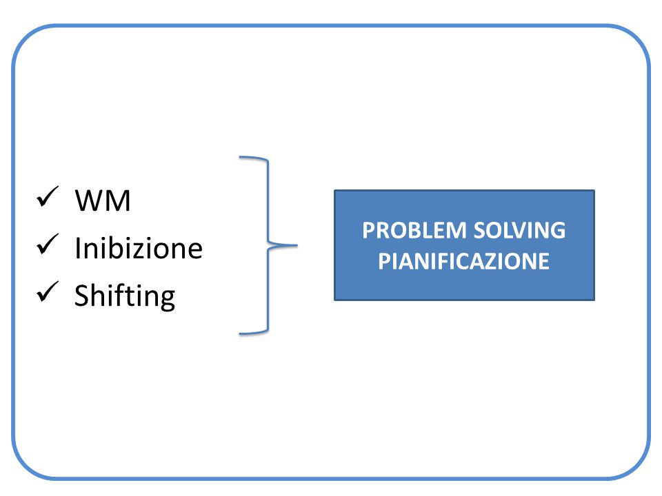 WM Inibizione Shifting PROBLEM SOLVING PIANIFICAZIONE