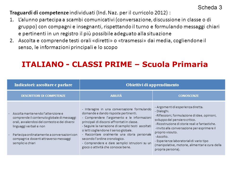 ITALIANO - CLASSI PRIME – Scuola Primaria