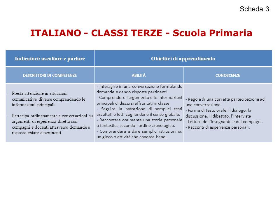 ITALIANO - CLASSI TERZE - Scuola Primaria