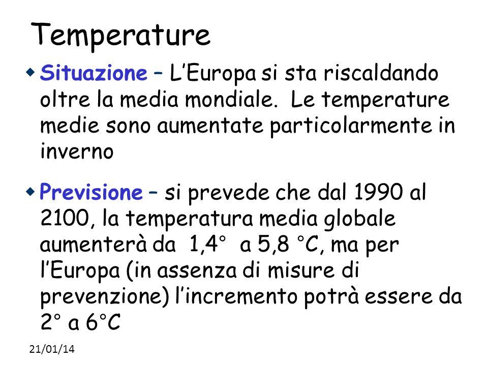 Temperature Situazione – L'Europa si sta riscaldando oltre la media mondiale. Le temperature medie sono aumentate particolarmente in inverno.