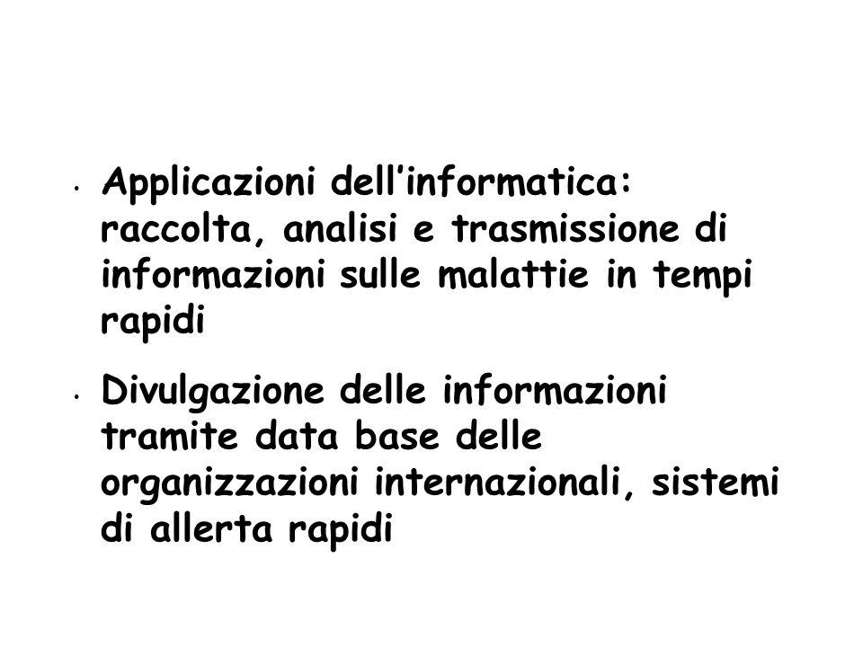 5252 Applicazioni dell'informatica: raccolta, analisi e trasmissione di informazioni sulle malattie in tempi rapidi.
