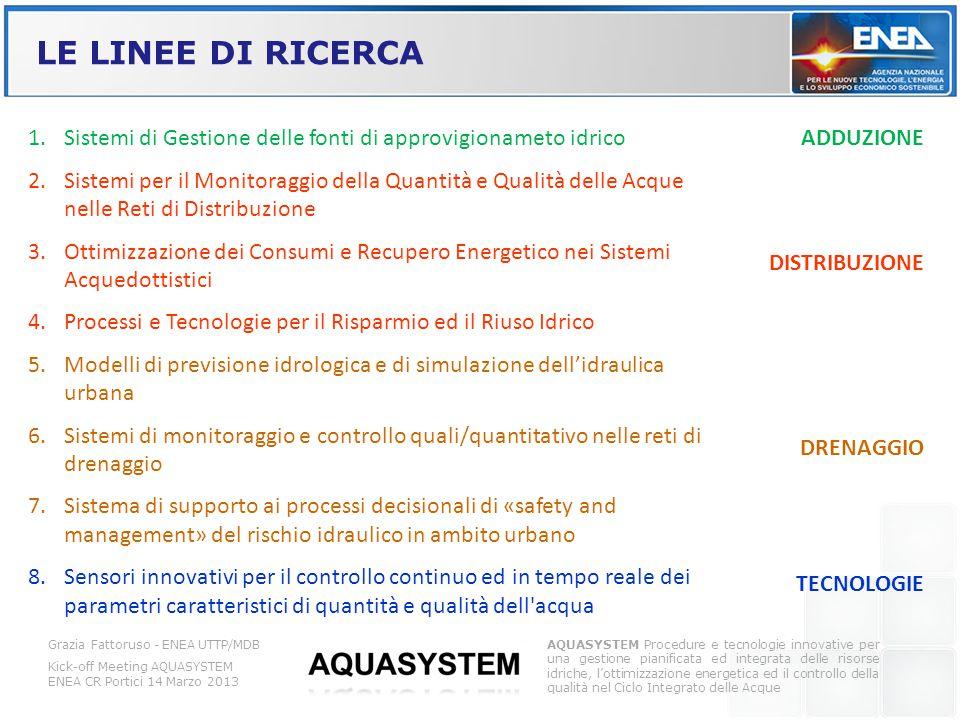 LE LINEE DI RICERCA Sistemi di Gestione delle fonti di approvigionameto idrico.