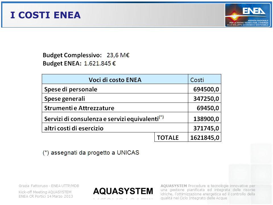 I COSTI ENEA Grazia Fattoruso - ENEA UTTP/MDB