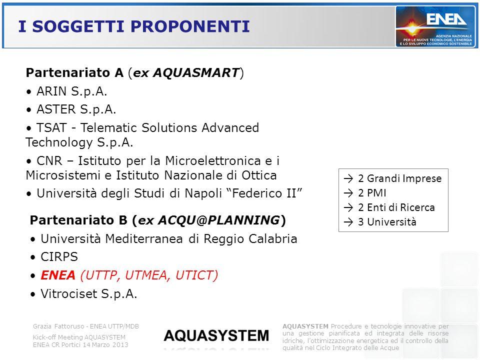 I SOGGETTI PROPONENTI Partenariato A (ex AQUASMART) • ARIN S.p.A.