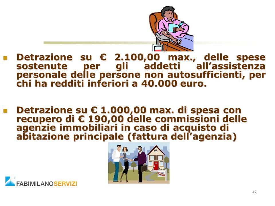 Detrazione su € 2.100,00 max., delle spese sostenute per gli addetti all'assistenza personale delle persone non autosufficienti, per chi ha redditi inferiori a 40.000 euro.