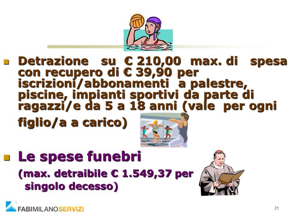 Le spese funebri (max. detraibile € 1.549,37 per
